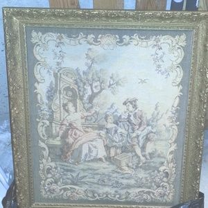Other - Vintage large framed Cloth Tapestry Victorian